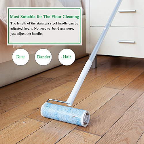 Floor Roller (UNIKON 801 Lint Roller Sticky Roller Pet Hair Roller, Long Handle Sticky Mop With 4-Foot Extendable Handle&30 Sheets Roller)