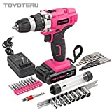 TOYOTERU Powerful 18 Volt Lithium-Ion Cordless Drill Driver Kit Pink Tool for Women- 33PCS Drill Accessory, 2 Gears,1500mAh Battery & Charger in Blow Mold Case
