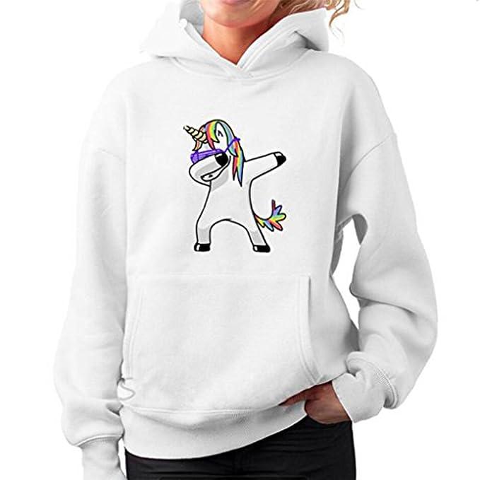 Sudaderas con capucha Mujer Unicornio Impresión de Manga Larga Sudaderas Cortas Sweatshirt Pullover Tops Shirt Blouse Camisetas Mujeres Suéter: Amazon.es: ...
