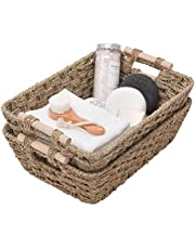 """GRANNY SAYS Hand-Woven Large Storage Baskets with Wooden Handles, Seagrass Wicker Baskets for Organizing, Trapezoid Decorative Baskets, 15.0"""" x 10.6"""" x 5.1"""",Set of 2"""