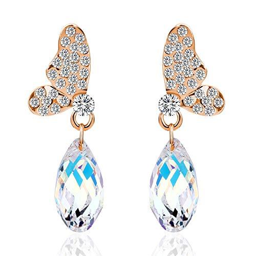IUTING Luxury Golden Butterfly Wings Dangle Gem Stone Created Crystal Water Drop Earrings for Women Jewelry