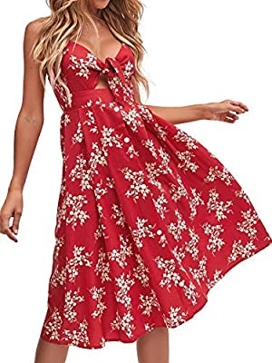 FANCYINN Womens Floral Prints Tie Front Button Down Spaghetti Strap Midi Dress