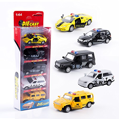 - KIDAMI Die Cast Metal Toy Cars Set of 5, Openable Doors Pull Back Car Gift Pack for Kids (Police car)