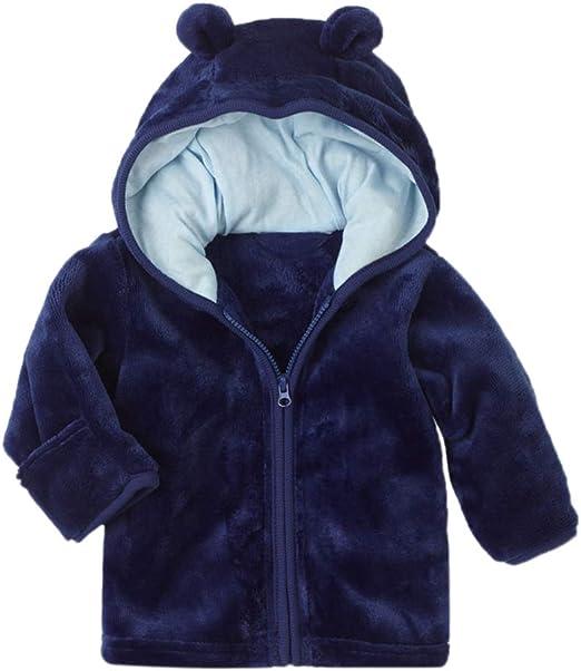 Baby Girls Boys Fleece Jacket Cute Ear Zipper Print Thick Hooded Coat Autumn Winter Warm Outwear Toddler Kids