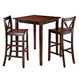 Winsome 3-Piece Kingsgate Dining Table with 2 Bar V-Back Chairs, Brown Review