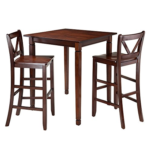 Seat Winsome Square (Winsome 3-Piece Kingsgate Dining Table with 2 Bar V-Back Chairs, Brown)