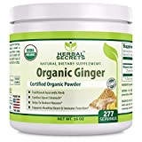 Herbal Secrets USDA Certified Organic Ginger Powder 16 oz Gluten-Free, Non-GMO-supports healthy heart & immune functions * helps to reduce nausea*