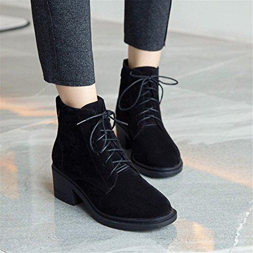 con Botas bajo Mujeres Femenino black Las Sandalette Usan de DEDE Arranque Tubo cómodas de Estudiantes CXqTwnZ1zx