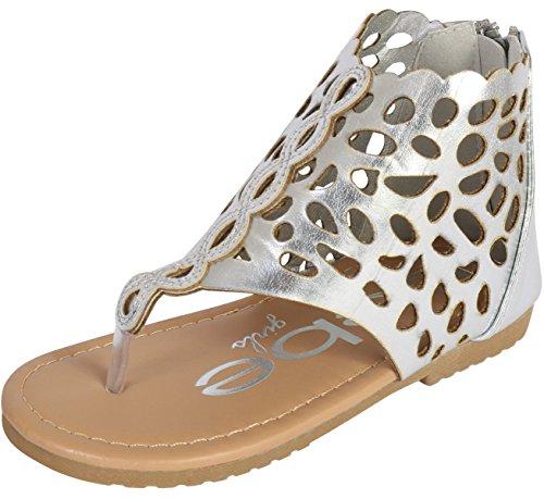 bebe Girls Gladiator Thong Sandal, Silver, 5 M US Toddler' -