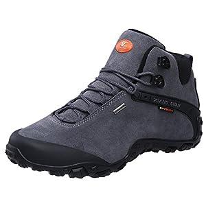 XIANG GUAN Men's Outdoor High-Top Lacing Up Water Resistant Trekking Hiking Boots Grey 10