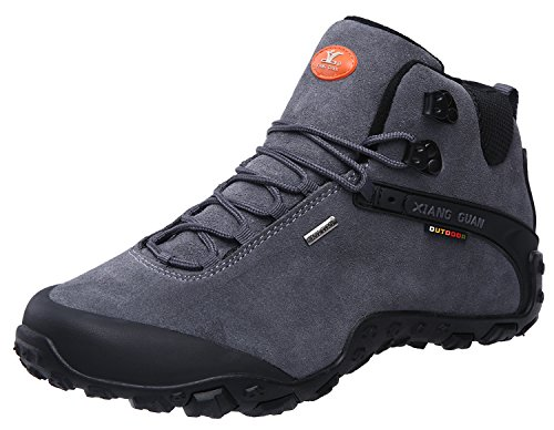 XIANG GUAN Men's Outdoor High-Top Lacing Up Water Resistant Trekking Hiking Boots