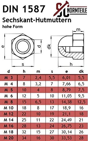 hohe Form DIN 1587 Edelstahl V2A VA A2 20 St/ück Sechskant SECCARO Hutmutter M10