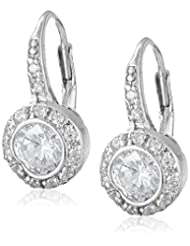 Sterling Silver Plated Leverback Round Shaped Cubic-Zirconia Dangle Earrings