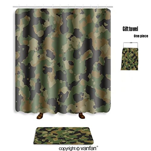 vanfan bath sets with Polyester rugs and shower curtain seamless green and brown camouflage pattern v shower curtains sets bathroom 48 x 78 inches&23.6 x 15.7 inches(Free 1 towel and 12 hooks)