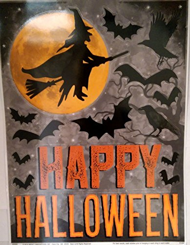 Halloween Window Clings Mysterious Witch Silhouette, Bats and Happy Halloween]()