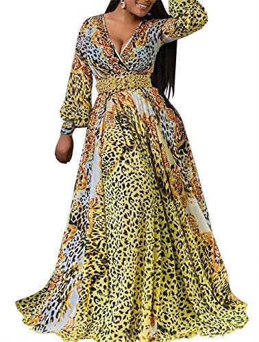 Women's Summer Long Sleeve V Neck Long Maxi Dress Loose Leopard Print Swing A Line Skirt Dresses Plus Size Club ()