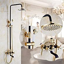 GAOF Retro Style Gilded White & Black Shower Bathtub Faucet Mixer Tap With Hold Head Brass Dual Handles Waterfall Shower OYD008R , 1
