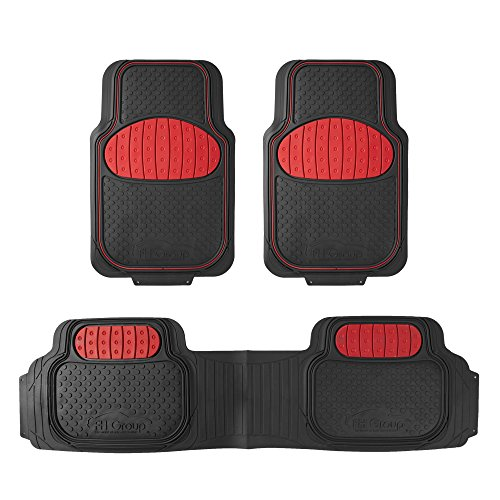 (FH Group F11500RED Heavy Duty Touchdown Rubber Floor Mat (Red Full Set Trim to Fit))