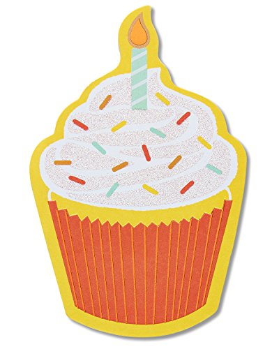 American Greetings Die-Cut Cupcake Happy Birthday Greeting Card Embellished with Glitter