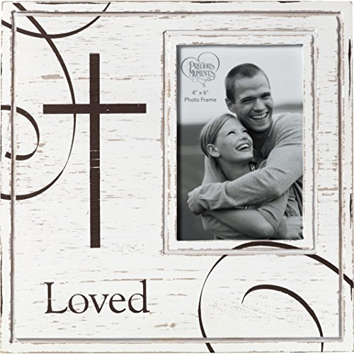 Religious Frame - Precious Moments Loved with Cross Rustic Farmhouse Distressed 4x6 Wood & Metal Photo Frame Home Decor 173425