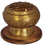 Carved Brass Charcoal Incense Burner