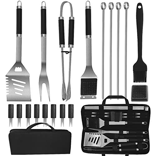 POLIGO 19PCS BBQ Accessories Set Stainless Steel Barbecue Grilling Utensils Kit Set with Storage Bag for Camping - Premium BBQ Grill Tools Kit - Ideal BBQ Gifts Set for Birthday Christmas Men Women (Dollar 25 Exchange Gift Ideas)