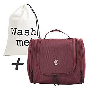 Toiletry Bag; Hanging Travel Organizer Kit for Cosmetics, Makeup, Toiletries, Shaving, in 3 Colors, Fold-Out Travel Bag with Mesh and Zippers Plus Laundry Bag in a Gift Bag; THE PERFECT HOLIDAY DEAL!