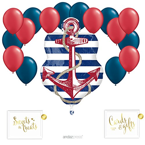 8 Piece Anchor Kit (Andaz Press Balloon Party Kit with Gold Ink Signs, Anchor with Red and Navy Blue Latex Balloons, 19-Piece Kit)