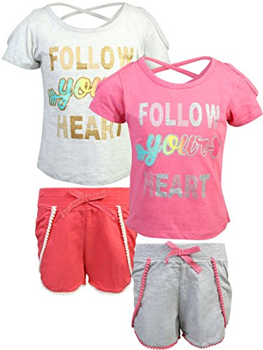 Real Love Girl's 4-Piece French Terry Short Sets, Follow Your Heart, Size 14/16'