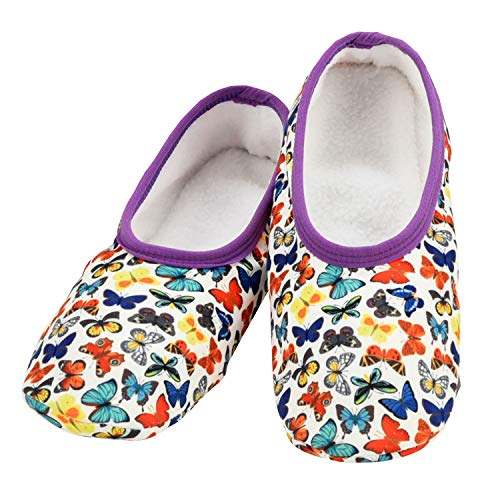 Snoozies Skinnies Lightweight Slippers | Cozy Slippers for Women | Travel Flats On The Go | Womens Slippers | Butterflies | Small