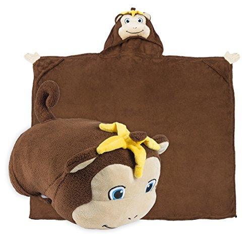 Comfy Critters Kids Huggable Hooded Blanket - Dark Brown
