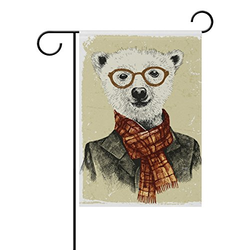 Mohado Hipster Bear In Glasses Vintage Style Garden Flag Yar