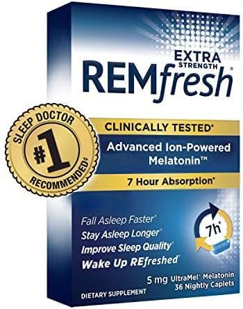 REMfresh Extra Strength 5mg Melatonin Sleep Aid Supplement (36 Caplet) | Drug-Free, Sleep Aid to Support Restful, Natural Sleep | #1 Doctor Recommended | Pharmaceutical-Grade, Ultrapure Melatonin