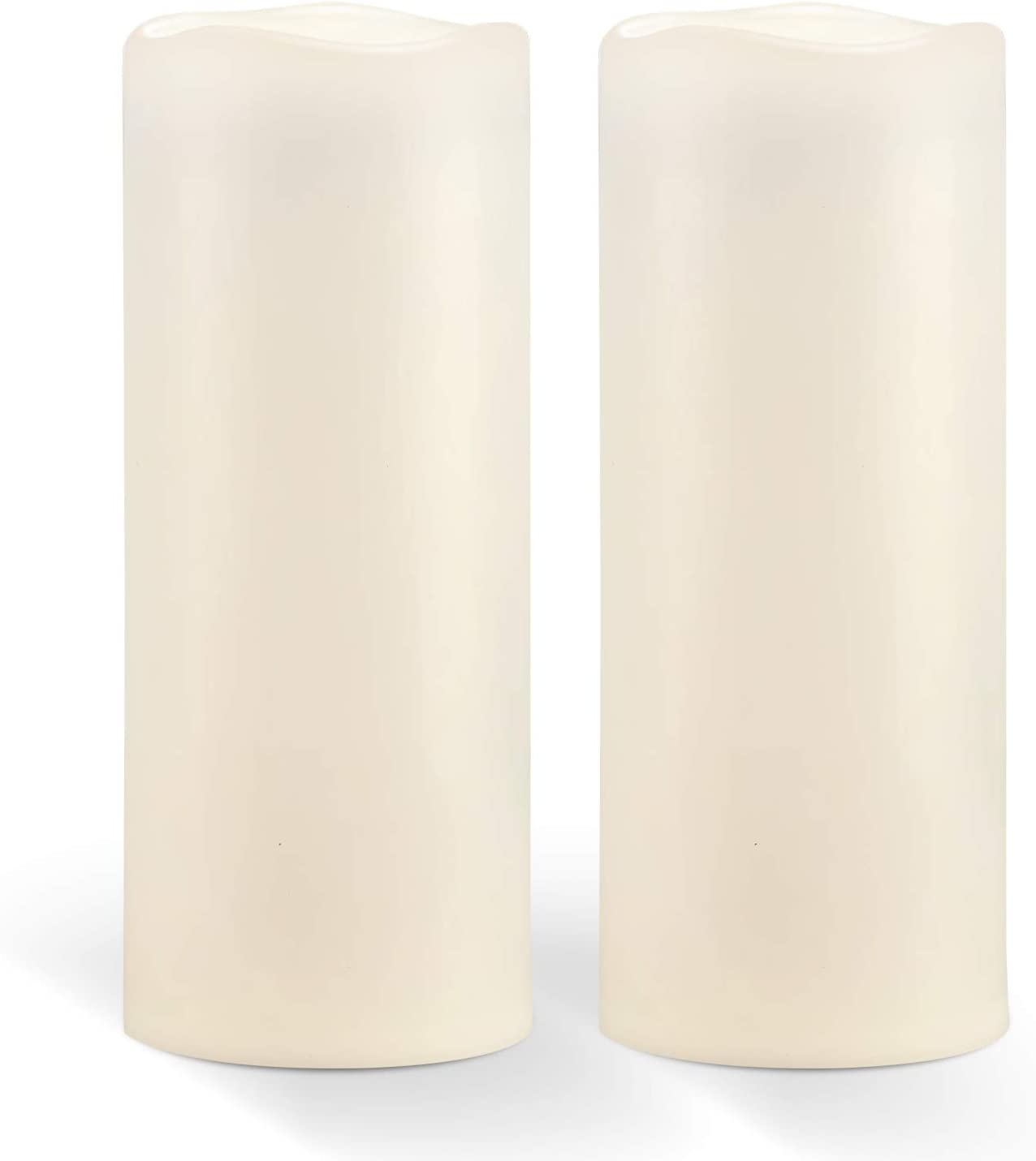 """Homemory 10"""" x 4"""" Waterproof Outdoor Flameless Candles - Battery Operated Flickering LED Pillar Candles for Indoor Outdoor Lanterns, Long Lasting, Large, Set of 2"""