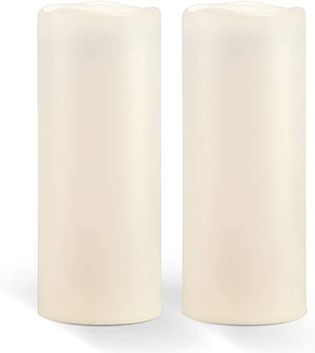 Homemory 10 x 4 Waterproof Outdoor Flameless Candles – Battery Operated Flickering LED Pillar Candles for Indoor Outdoor Lanterns, Long Lasting, Large, Set of 2