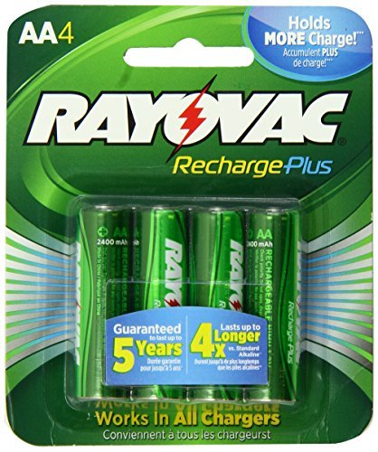 S High-Capacity Rechargeable 2400 mAh NiMH AA Pre-Charged Batteries, 4-pack (PL715-4) by Rayovac ()