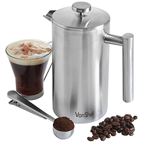 VonShef Double-Wall Keep Warm Satin Brushed Stainless Steel French Press Cafetiere Coffee Filter(8 Cup w/ Measuring Spoon and Sealing Clip). Available in sizes 3, 6 and 8 Cup