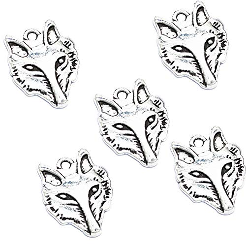 30pcs Vintage Antique Silver Alloy Animal Fox Head Charms Pendant Jewelry Findings for Jewelry Making Necklace Bracelet DIY 32x24mm (30pcs Fox) -
