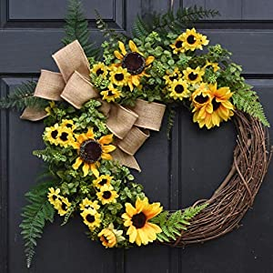 Spring Summer Boxwood and Sunflower Wreath with Green Ferns and Burlap Bow on Grapevine for Farmhouse Front Door Decor 118