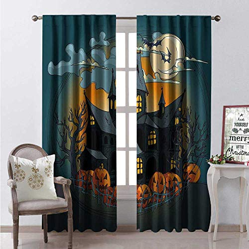 Hengshu Halloween Waterproof Window Curtain Medieval Haunted Castle Garden Pumpkins Dark Clouds Scary Nights Print Decorative Curtains for Living Room W108 x L108 Orange Teal -