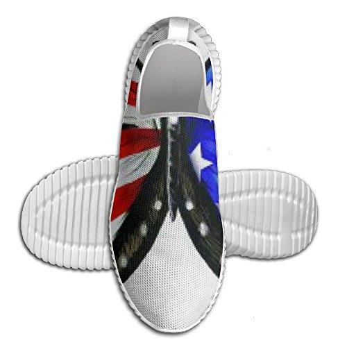 Scarpe Da Corsa Casual A Forma Di Farfalla Con Bandiera Americana Scarpe Da Ginnastica Antiscivolo Unisex Per Gioventù Bianche