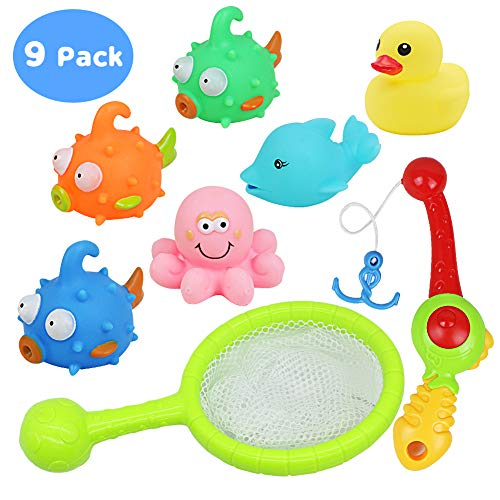 yoptote Bathtub Toys Fishing Game Bath Toys Tub Water Pool Toys with Fish Octopus Dolphin Rod Net Set for Kids Toddler Boys and Girls, 8 Packs