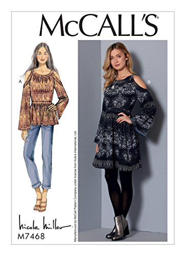 McCall's 7468 (SIZE 6-14) Misses' Cold-Shoulder Tunic and Dress