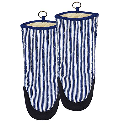 (RED LMLDETA Oven Mitts Set of 2 with Neoprene Handle and Fade-Proof Yarn Dyed Striped, Heat-Resistant to 450 F Kitchen 100% Cotton Oven Gloves Pot Holders for Cooking, Machine Washable (Blue1))