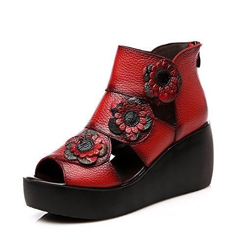 KHSKX-Estilo Pastoral Original Con Suela Gruesa De Flores Hechas A Mano Con Sandalias Zapatos De Plataforma Con Pendiente Suave Con Suela De Alto 7Cm Ocio Bolsa Con Sandalias gules