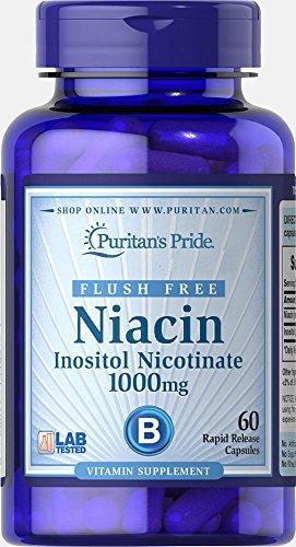 Puritans Pride Flush Free Niacin Inositol Nicotinate 1000 Mg-60 Capsules, 60 Count