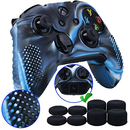 9CDeer 1 Piece of Studded Protective Silicone Cover Skin Sleeve Case + 8 Thumb Grips Analog Caps for Xbox One/S/X Controller Camouflage blue compatible with Official Stereo Headset Adapter