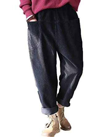 1a663d93b0a5c Vogstyle New Ladies Women Corduroy Trousers Pants Flared Plus Size Casual  Pants (Black-3)  Amazon.co.uk  Clothing
