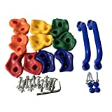 10pc Pig Nose Shape Rock Climbing Holds for Outdoor Wooden Play Set with Two Handles - Hardware Kit Included