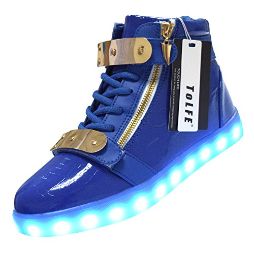 ToLFE Men Women High Top USB Charging LED Light Up Shoes Flashing Sneakers Blue R4bT9T
